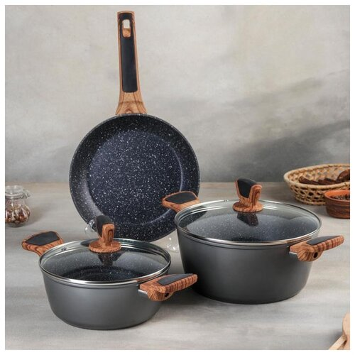 Набор посуды из литого алюминия: 2 кастрюли d=20/24 см с крышками, Сковорода d=24 см, инд 5248180 сковорода d 24 см kukmara кофейный мрамор смки240а