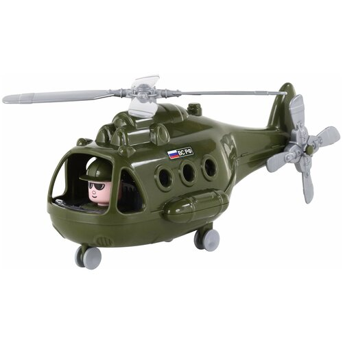 Купить Вертолет Полесье Альфа военный РФ (68729) в коробке, 29.5 см, зеленый, Машинки и техника