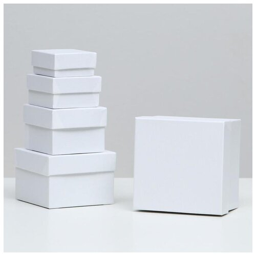 тарелка это твой день белая 13 5 х 12 5 см 5066416 Набор коробок 5 в 1 Белая полоска, 12 х 12 х 9 - 6 х 6 х 3 см 5220544