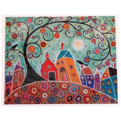 Купить Алмазная вышивка Яркие Грани Домики , размер 50х40см (200х158 кристаллов), 56 цветов