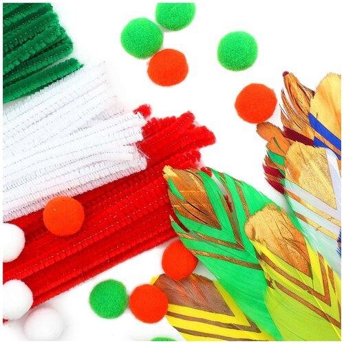 Купить Набор для детского творчества (синель, помпоны, перья), Astra & Craft, Поделки и аппликации