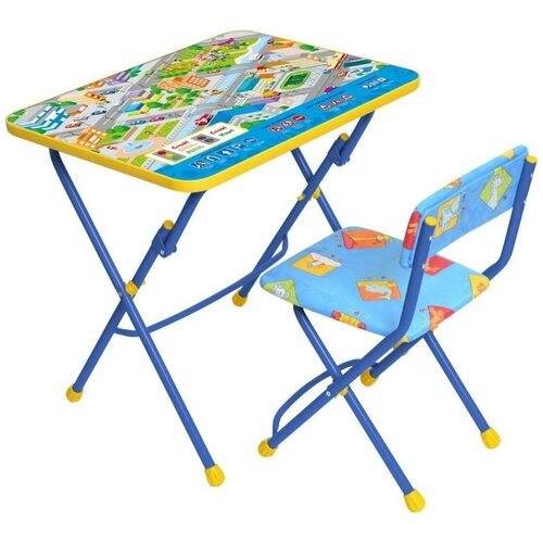 Купить Комплект Nika стол + стул Правила дорожного движения (КУ1/14) 60x45 см синий/желтый, Парты и столы