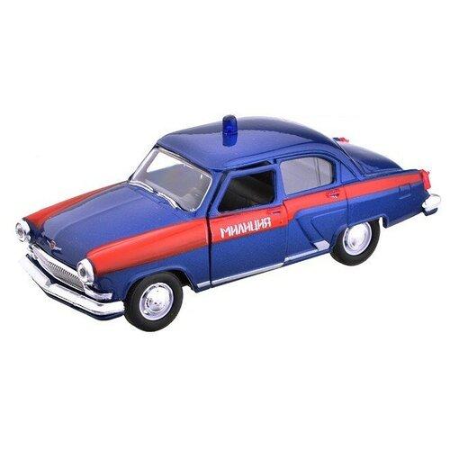 Легковой автомобиль Autogrand ГАЗ-21 Волга милиция СССР (34104) 1:43, 11.5 см, синий/красный