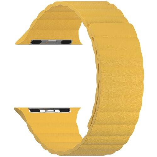 Кожаный ремешок для Apple Watch 38/40 mm LYAMBDA POLLUX DSP-24-40-YL Yellow ремешок lyambda pollux для apple watch 38 40 mm dsp 24 40 bk черный