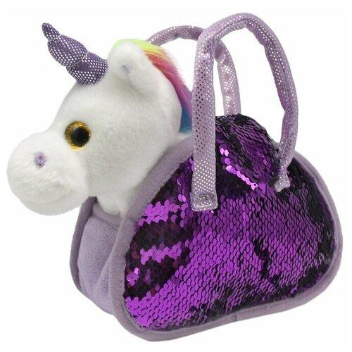 Мягкая игрушка Пушистые друзья Единорог в сумке с пайетками 21 см