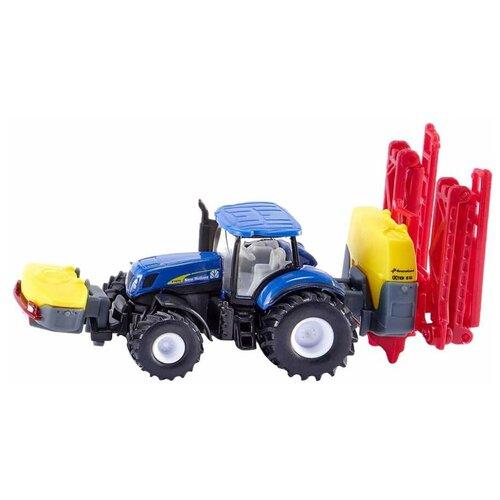 Фото - Трактор Siku с опрыскивателем New Holland (1799) 1:87, 19.5 см, синий/желтый/красный набор машин siku тягач с яхтой 1849 1 87 27 см красный белый