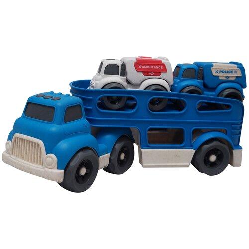 Купить Набор инерционных машин Автовоз и две небольшие машинки, синий, Jia Yu Toys, Машинки и техника