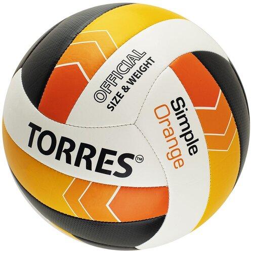 Волейбольный мяч TORRES Simple Orange V32125 белый/черный/оранжевый