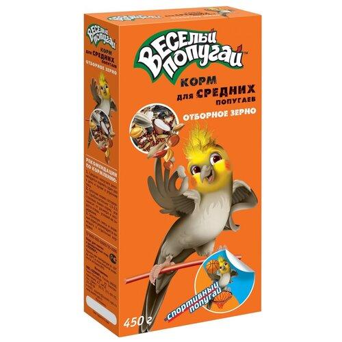 Фото - Зоомир корм Веселый Попугай с отборным зерном для средних попугаев 450 г лакомство для средних попугаев зоомир веселый попугай две палочки любимые орехи 70 г