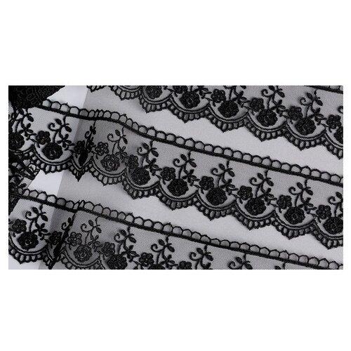 Купить Кружево на сетке KRUZHEVO TR.8B0100 шир.45мм цв.05 черный уп.9м, Декоративные элементы