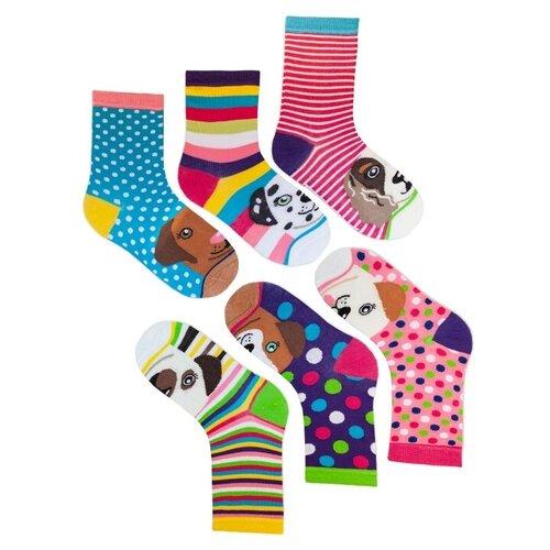 Комплект женских непарных носков lunarable С собаками-полоски, розовые, зеленые, голубые, фиолетовые, размер 35-39
