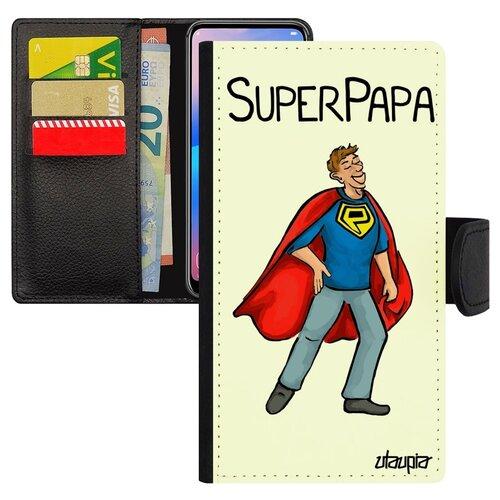 Чехол-книжка на смартфон Самсунг Галакси S10Е оригинальный дизайн Суперпапа Супергерой Отец