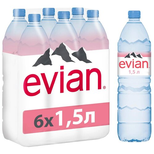 Вода минеральная Evian негазированная, ПЭТ, 6 шт. по 1.5 л