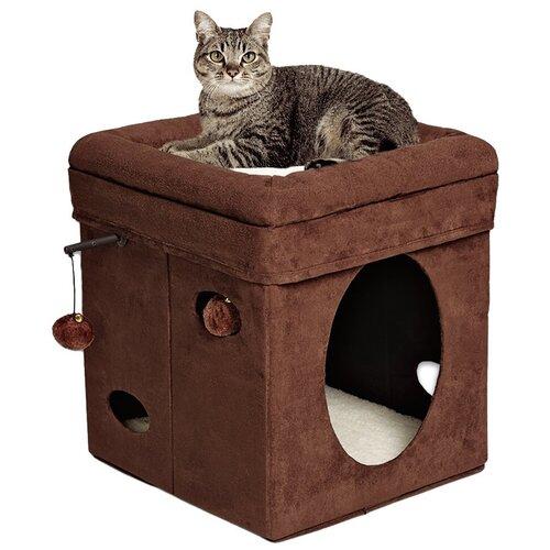 Домик для кошек Midwest Curious Cat Cube 38.4х38.4х42 см brown