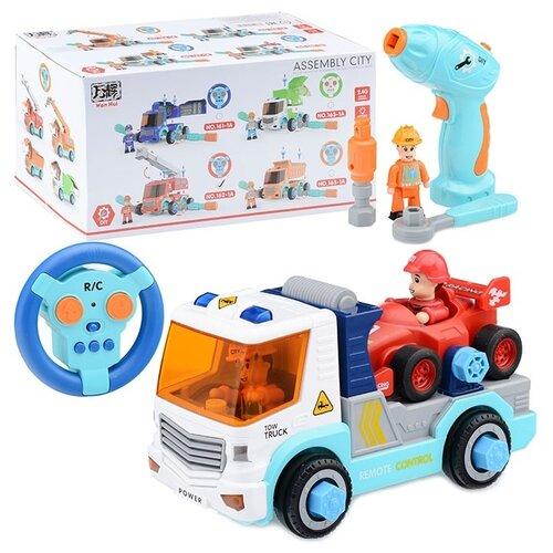 Купить Машина-конструктор Oubaoloon р/у, 27 MHz, Спецтехника , с гоночной машинкой, 2 фигурки водителя, шуруповерт, накидной ключ, в коробке (169A), Радиоуправляемые игрушки