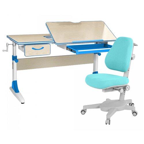 Комплект Anatomica парта + кресло + органайзер + ящик Smart-60 (Armata) 120x60 см клен/голубой комплект anatomica smart 60 парта study 120 lux кресло armata duos надстройка органайзер ящик клен серый зеленый