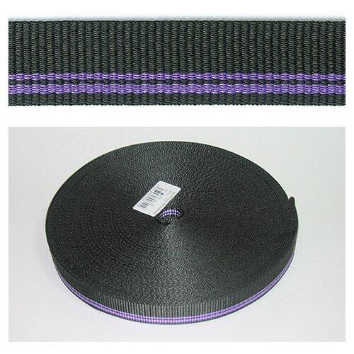 Купить Тесьма ременная (стропа) PEGA черная с фиолетовыми полосами, 25 мм 100% полиэстер, Технические ленты и тесьма