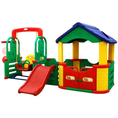 Купить Детский игровой комплекс Happy Box JM-804В Мульти-Хаус для дома и улицы: детская горка, баскетбольное кольцо с мячом, подвесные качели, игровой домик-манеж (производитель Южная Корея), Игровые и спортивные комплексы и горки