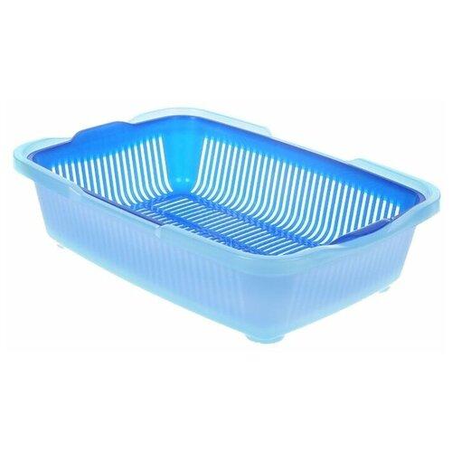 Туалет-лоток для кошек DDStyle Догуш 233 42х32х11 см синий/голубой 1 шт.