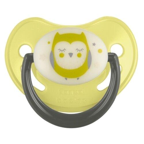 Купить Пустышка силиконовая ортодонтическая Canpol Babies Night Dreams 6-18 м, желтый, Пустышки и аксессуары