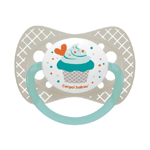 Купить Пустышка силиконовая классическая Canpol Babies Cupcake 6-18 м, серый, Пустышки и аксессуары