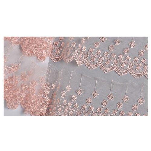 Купить Кружево на сетке KRUZHEVO матовая нить TR.8B3289 шир.80мм цв.06 розовая пудра уп.9м, Декоративные элементы