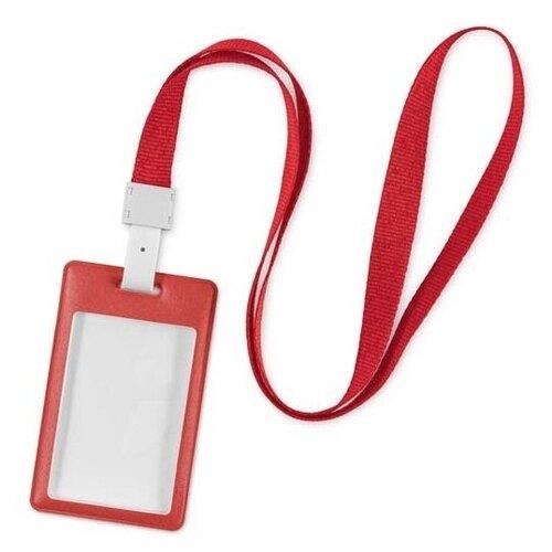 Лента для бейджа / держатель для бейджа с карманом для карты пропуска Flexpocket красная