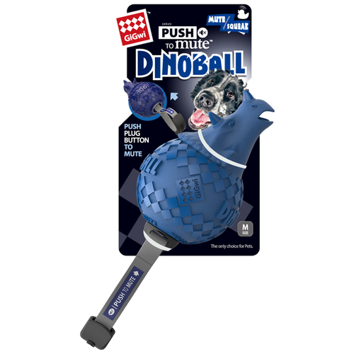 Фото - Мячик для собак GiGwi Push to mute Dinoball (75398) синий игрушка для собак gigwi push to mute сова 75322 фиолетовый