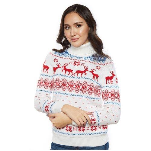 Женский свитер, классический скандинавский орнамент с Оленями и снежинками, натуральная шерсть, белый, красный, голубой цвет, размер S
