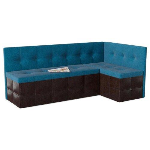 Кухонный диван SMART Домино правый голубой/коричневый