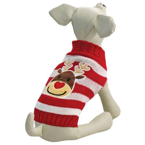 Фото - Свитер для собак Triol Олененок (полоска) XXL красный/белый triol triol xxl подгузник для собак весом от 30 кг 10 шт