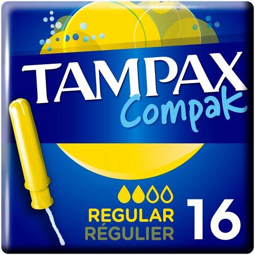 TAMPAX тампоны Compak Regular с аппликатором, 2 капли, 16 шт. tampax тампоны компак с аппликатором регуляр 8 tampax compak
