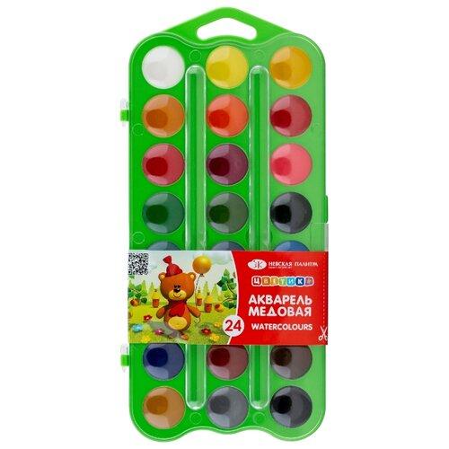 Купить Цветик / Акварель (медовая) пластиковая зеленая упаковка с петлей, 24 цвета, ЗХК Невская палитра, ЦВЕТИК, Краски