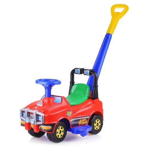 Купить Автомобиль-каталка Полесье Джип с ручкой – №4 (красный) (71972), Каталки и качалки