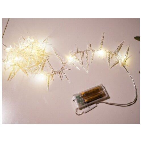 Электрогирлянда СОСУЛЬКИ-ИГОЛОЧКИ, 13 тёплых белых LED-огней, 120 см, таймер, батарейки, Kaemingk 482046 светящееся панно баночка снеговичков merry christmas mdf 5 тёплых белых led огней 17x27 см таймер батарейки kaemingk