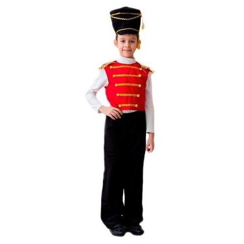 Купить Костюм Бока Гусар люкс, красный/черный, размер 104-116, Карнавальные костюмы