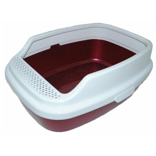 Туалет-лоток для кошек Homecat De Luxe 53х39х23 см красный перламутр
