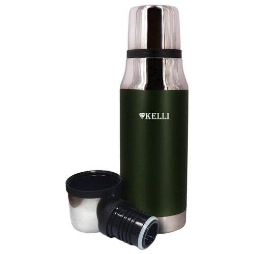 Классический термос Kelli KL-0919, 0.75 л зеленый/серебристый помповый термос kelli kl 0954 2 л синий