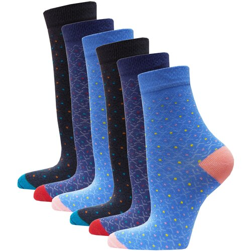 Носки женские в точку HOSIERY 71101 р 23-25 (36-39 размер обуви) голубой-синий 6 пар