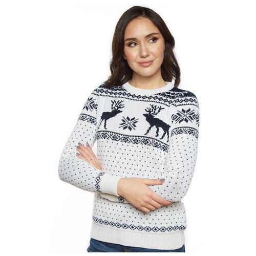 Новогодний женский свитер, классический скандинавский орнамент с Оленями и снежинками, натуральная шерсть, белый цвет, размер S