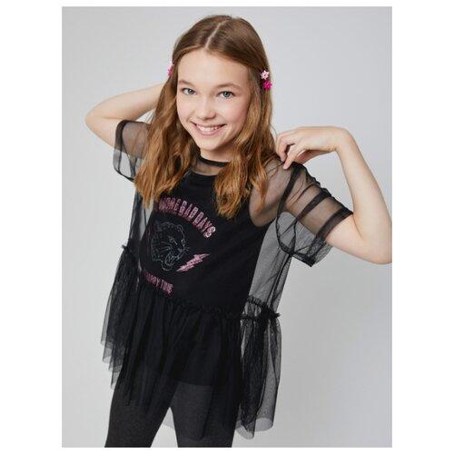 Блузка Sela размер 128, черный джемпер sela размер 128 розовый