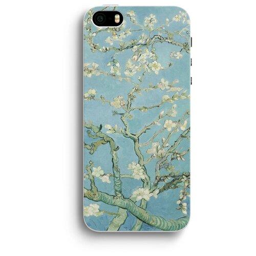 """Чехол для iPhone 5/5S/SE """"Цветущие ветки миндаля"""" белый"""