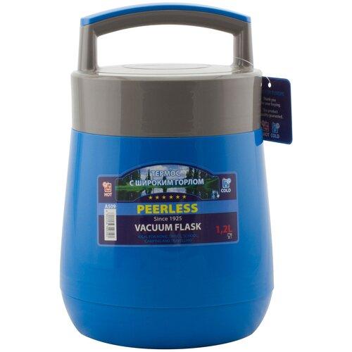 Термос для еды Peerless А509, 1.2 л голубой/серый