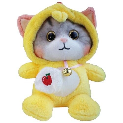 Мягкая игрушка Котенок в пижаме кигуруми Петух / в капюшоне 25 см