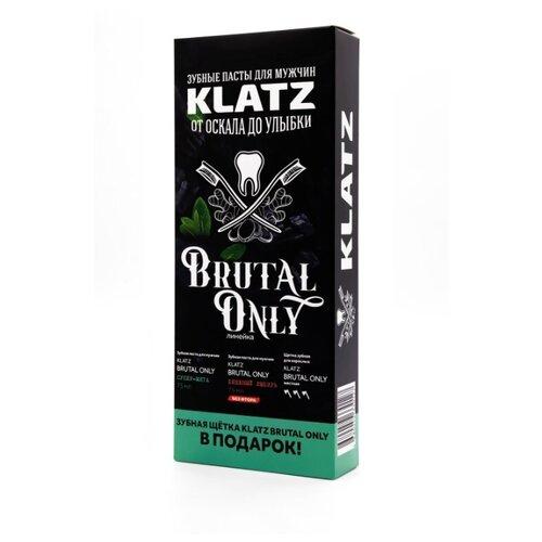 Купить Набор KLATZ: Зубная паста Супер-мята 75 мл + Зубная паста Бешеный имбирь 75 мл + Зубная щетка жесткая 1 шт.