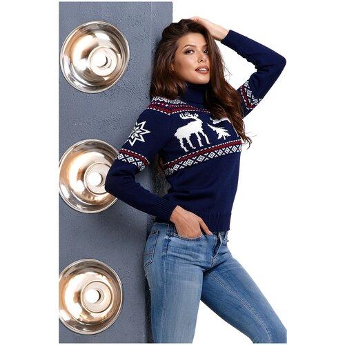 Женский свитер, классический скандинавский орнамент с Оленями и снежинками, натуральная шерсть, темно-синий цвет, белый с красным орнамент, размер S