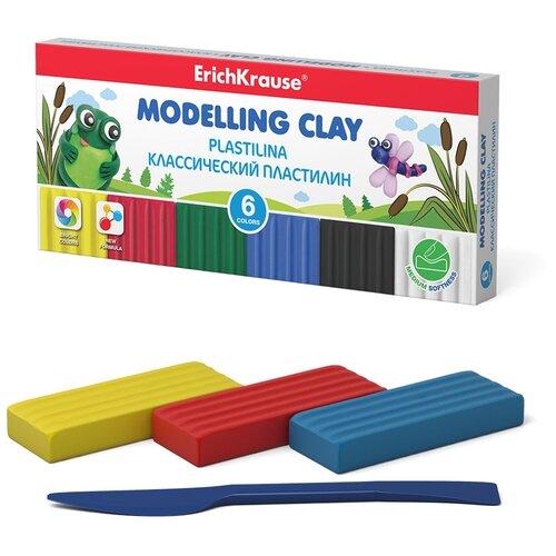 Купить Пластилин ErichKrause Классический 6 цветов/108 г (50545), Пластилин и масса для лепки