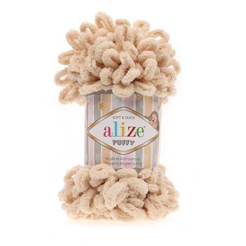 Купить Пряжа для вязания Alize 'Puffy' 100г 9м (100% микрополиэстер) (310 бежевый), 5 мотков