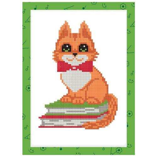 Фото - Алмазная мозаика Котик на книжках, 19,5x14 см 3572058 алмазная мозаика для детей котик емкость стержень с клеевой подушечкой