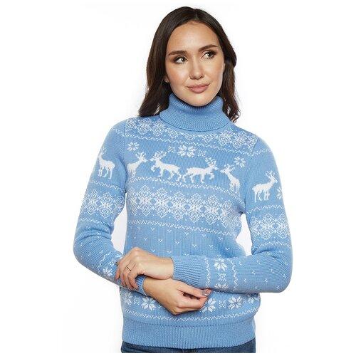 Женский свитер, классический скандинавский орнамент с Оленями и снежинками, натуральная шерсть, голубой цвет, размер XS